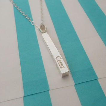 Bar Necklace Name,Silver Vertical Bar Necklace ,Engraved Bar Necklace , Long Silver Date Bar Necklace,Personalized Bar Necklace