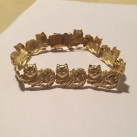 "ON SALE 10K Gold Cats Bracelet 15.3g 7.25"" Diamond Cut Felines 10Kt Vintage Jewelry Jewellry Birthday Mother's Holiday Anniversary Christmas"
