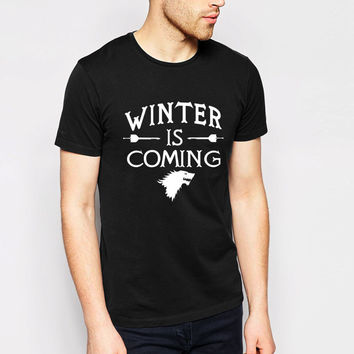 Game of Thrones Direwolf T-shirt House Stark Cotton T-shirt Women/Men Winter is coming Casual Streetwear T shirt T-F10510