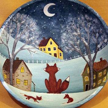 Primitive Folk Art Hand Painted Wood Bowl, Winter Scene with Red Foxes Overlooking a Village of Saltbox Houses in Moonlight MADE TO ORDER