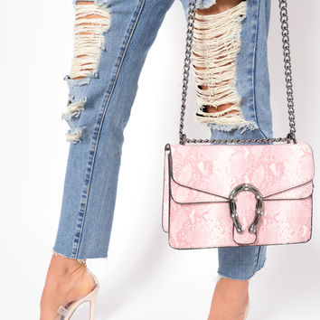PINK SNAKE PRINT CROSS BODY BAG - TENLEE
