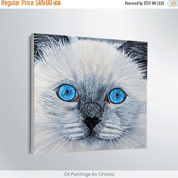 Easter gift On Sale Cat portrait Cat painting-Oil painting-Wall hangings-Kids room-Gifts ideas-Pets-Pet lovers-Pet portrait-Cat face