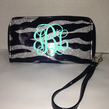 Monogrammed Zebra Print Glitter Wristlet - Wallet - Phone Holder - Monogrammed Bag - Personalized Wristlet - Customized Wallet-Zebra-Glitter