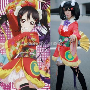 Love Live School Idol Project Angelic Angel Yazawa Nico Kimono Uniform Dress Outfit Anime Cosplay Costumes