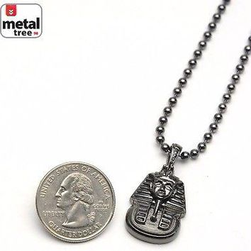 "Jewelry Kay style Men's Iced Out Egyptian Pharaoh Pendant 3 mm 20"" Ball Chain Necklace MMP 810 HE"