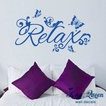 Relax And Butterflies Wall Stickers Home Decor,Vinyl Decals bedroom,bathroom,Living Room Decoration Stikers For Wall Decoration