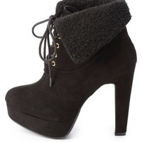 Shearling-Cuffed High Heel Work Booties by Charlotte Russe - Black