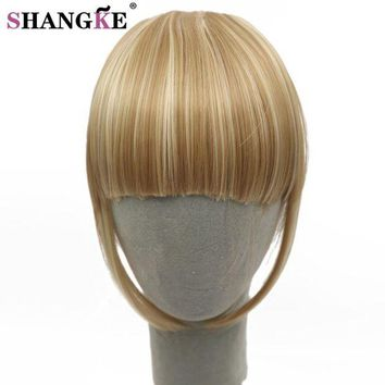 NOVO5 Fringe Clip In Hair Bangs Hairpiece Clip In Hair Extensions Heat Resistant Synthetic Fake Bangs Hair Piece 8 Colors