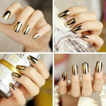 Wisedeal 2* Fashion Super Star Nail Art Polish Gold and Silver Metallic Foil Sticker Patch Wraps Tips 24 Pcs for Women Girls Wife As Valentine's Day Gift