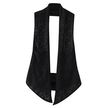 K7 Summer Casual Women Vest 4XL Plus Size Clothes Fashion Sleeveless Lace Hollow out crochet Loose shawl 3533