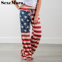 Independence Day American flag print wide leg casual pants women trousers bottoms loose sweatpants home palazzo pants D38-I32
