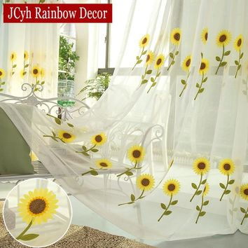 Pastoral Sunflower Sheer Tulle Curtains For Living Room Bedroom Modern Kitchen Window Curtains And Tulle Voile Curtains Kids
