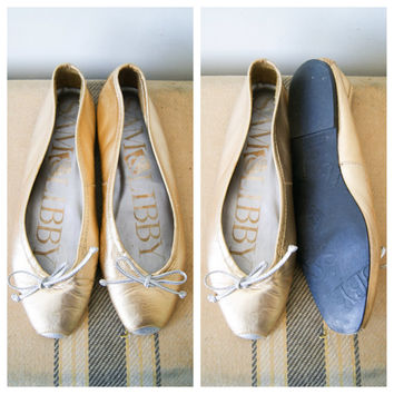 Ballet Flats. Leather Flats. Women's Shoes. Metallic Gold and Silver Shoes. Size 5.5.