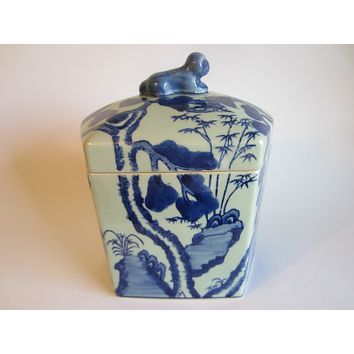Blue White Asian Porcelain Box Blue Foo Dog Floral Butterfly Transferred  Jar