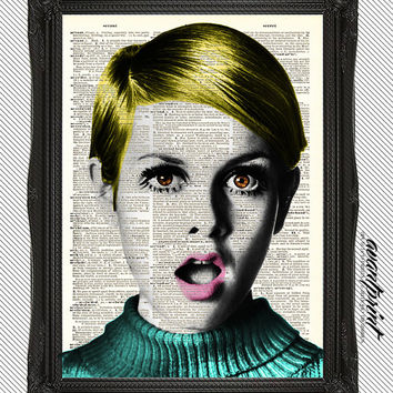 Retro Edie Sedgwick Mod Portrait Original Print on an Unframed Upcycled Bookpage