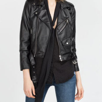 Black Lapel Oblique Zipper Cropped Faux Leather Jacket