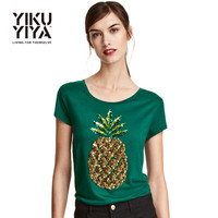 YIKUYIYA Pineapple Printed Sequin T-shirts Women 2017 Short Sleeve Green Pullover Tops Ladies O-neck Loose Casual Tees Female