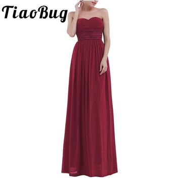 TiaoBug Women Ladies Adults Strapless Chiffon Bridesmaid Dress Long Tulle Maxi Floor Length Prom Gown Princess Summer Dress