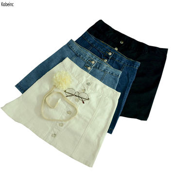 High Waist Skirt For Women  Summer Women Skirts Slim A-Line Denim Skirt Single Breasted Ladies Skirts Plus Size Saia Midi