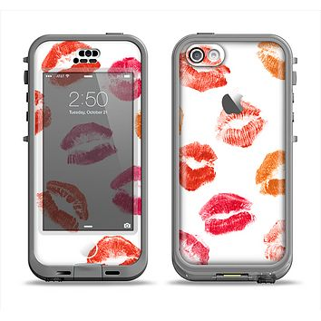 The White with Colored Pucker Lip Prints Apple iPhone 5c LifeProof Nuud Case Skin Set
