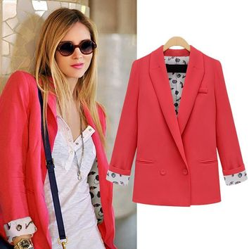 2016 new spring autumn suit jacket female loose Blazer Women long Sleeve Boyfriend Feminino Jackets plus size