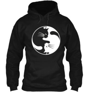 Black White Cat Yin and Yang  for Women and daddy Pullover Hoodie 8 oz