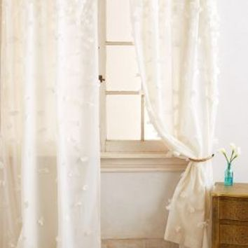 Fallen Petals Curtain by Anthropologie in Ivory Size: