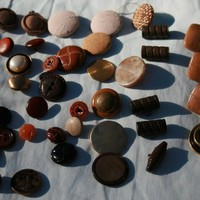 Vintage Buttons Cloth,Metal,Wood,Plastic all totaling to 40 Buttons with Shanks | rocksntwigs - Supplies on ArtFire
