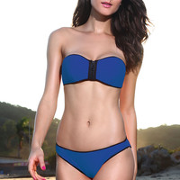 Blue Strapless Zip Up Low Rise Bandeau Bikini Set