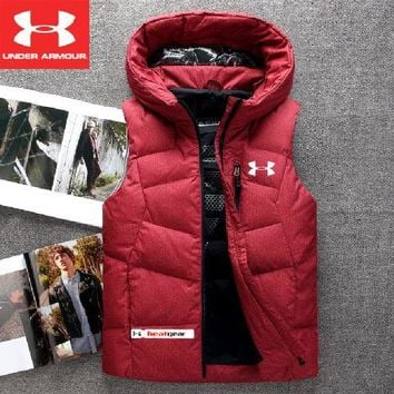 Under Armour Fashion Men's Winter Casual Jacket Men's Cotton Men's Warm Tank Top / Red