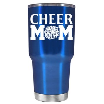 Cheer Mom Pom Pom on Translucent Blue 30 oz Tumbler Cup