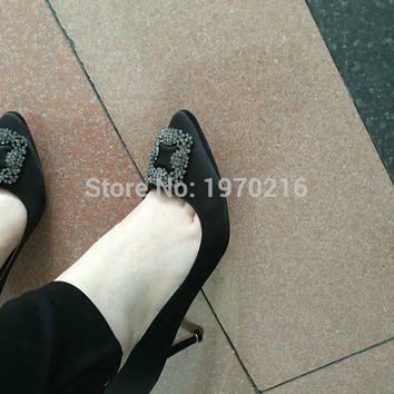 2016 fashion rhinestone mb02 shoes 60/80/100mm high heels shoes Silk satin Women Pumps Sexy Wedding Party Shoes 100% Real photos