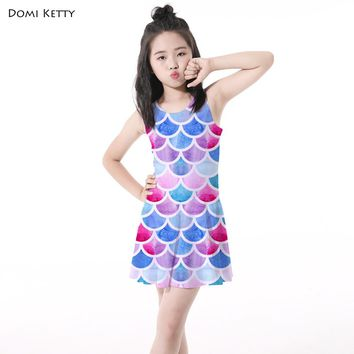 Domi Ketty girls summer dress print scale mermaid colored kids girl princess clothes children sleeveless party dresses costume