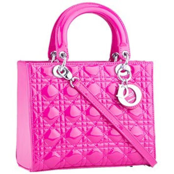 Dior Small Lady Cannage Bag Patent Leather Pink