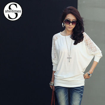 bat sleeve t-shirt vintage 2016 womens tops fashion loose lace t shirt women tshirt tee shirts femme plus size korean clothing
