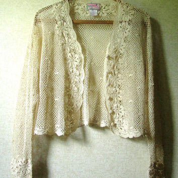 Lace Cardigan Crochet Sweater boho hipster cropped short jacket natural ecru beige tan vintage 90s women medium large April Cornell Trading
