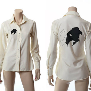 Vintage 70s Miller Western Wear Shirt 1970s Ebony & Ivory Cowboy and Cowgirl Silhouette Rodeo Top Ladies Western Shirt