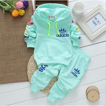 Good hot sale 2016 New spring fall baby boys and girls clothing baby tracksuit brand sport sets 2PCS pink suits Retail tops