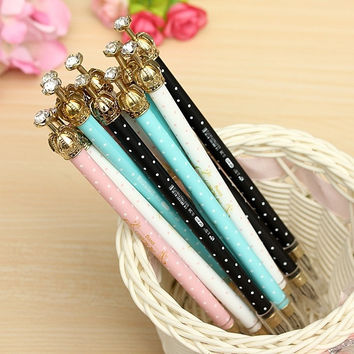 12X Colourful Crown Black Ink Elegant Pearl Gel Pen Office Stationery Supply Gift = 1958030084