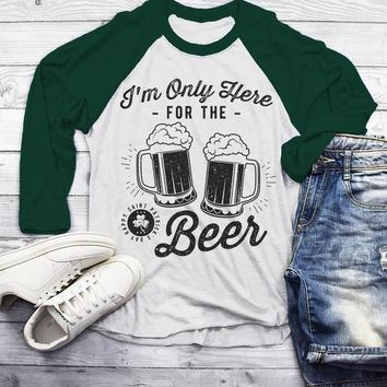 Men's Funny St. Patrick's Day T Shirt Here For Beer Shirts 3/4 Sleeve Raglan Party Drinking Tee Graphic St Patty's Day Shirt