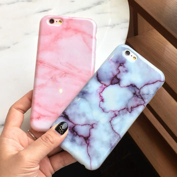 Pink Marble iPhone 7 7Plus & iPhone 6s 6 Plus Case +Gift Box
