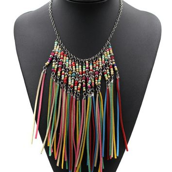 Casual Faux Leather Tassels Boho Necklace