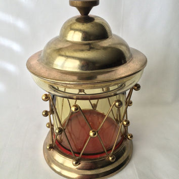 Brass Music Box, Brass and Glass, Drum Lantern Style, Vintage Schmid Bros, Spoonful of Sugar Musical Decor, Lantern Music Box, Wind Up Music