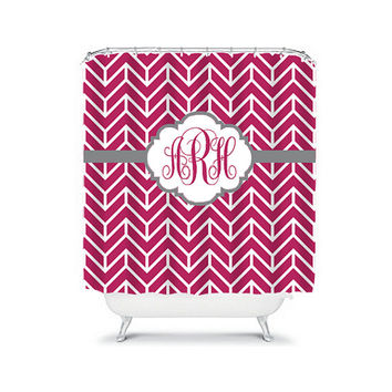 Shower Curtain Monogram Name CUSTOM Choose Colors Coral Fucshia Gray Chevron Herringbone Pattern Bathroom Bath Polyester Made in USA