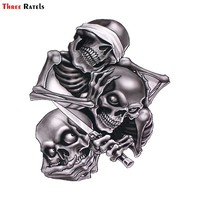 Three Ratels TZ-1330#17.3*15cm see nothing hear nothing say nothing Hear Speak See No Evil Skull car stickers funny car sticker