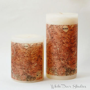 Antique Rome Map Pillar Candle, Rome Home Decor, Antique Map Candle, Rome Candle