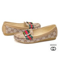 GUCCI Slip-On Women Fashion Leather Low heeled Shoes