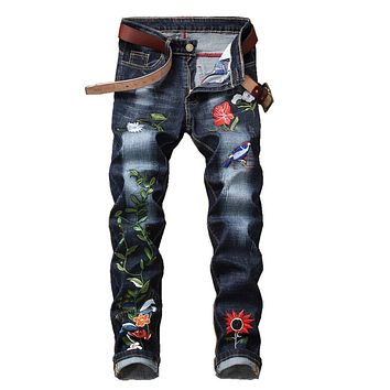 2018 new hip hop Famous  Flower Embroidered Jeans Straight Slim Fit  Mens Printed Biker Denim Trousers jeans pants