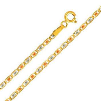 """14K Tri-Color Gold 2mm Valentino Diamond Cut Chain Necklace with Spring Clasp (Length: 16"""""""";  Weight: 2.8 grams approx): Necklace"""