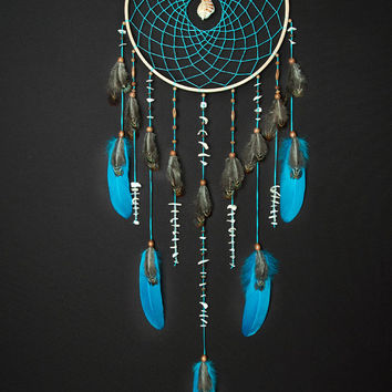 Large Turquoise Dream Catcher, Sea dreamcatcher, Something Blue, Wedding decor, boho style, wall hanging, wall decor, handmade dreamcatcher